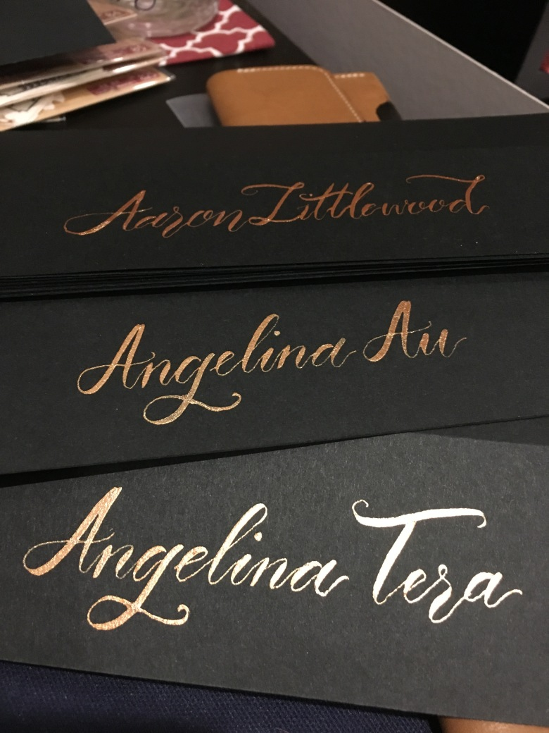 MostGLAM2016 calligraphy placecards